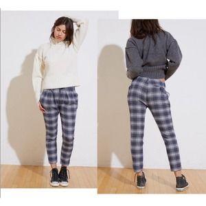 NSF Blue Pleated Plaid Pants 29 MSRP $295